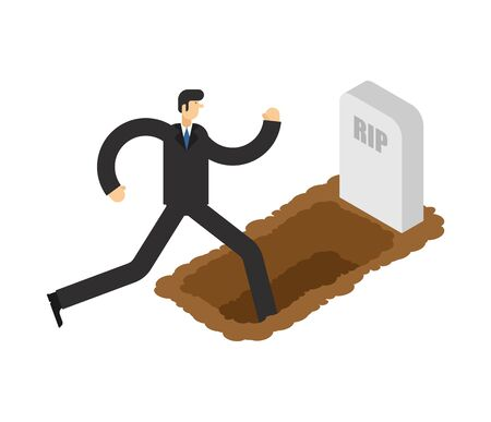 Man walks in grave. Guy go in grave pit. vector illustration Иллюстрация