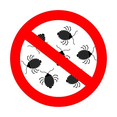 Stop bedbug. Red prohibition road sign. Ban Bed bug