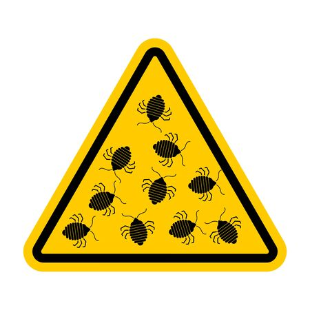 Attention Bed bug. Caution bedbug. Yellow triangle road sign Stock Illustratie