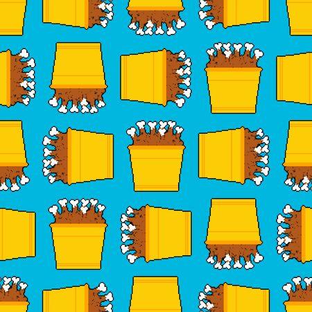 Bucket of fried chicken legs pixel art pattern seamless. 8 bit vector background