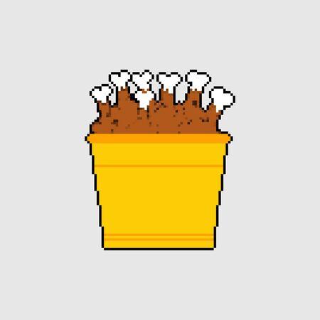 Bucket of fried chicken legs pixel art. 8 bit vector illustration