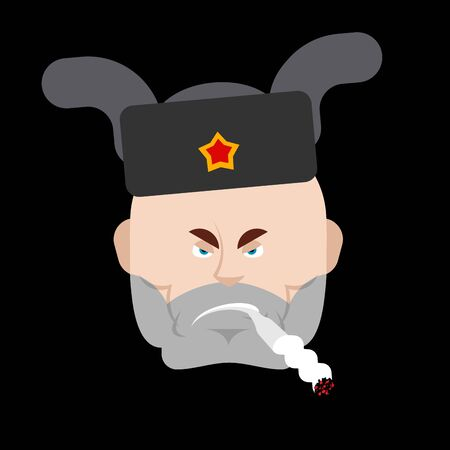 Bad russian man face. Angry guy in Russia. vector illustration