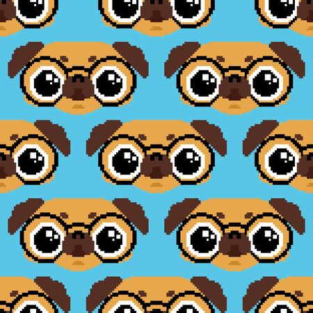 Cute Pug pattern seamless. nice dog background. Pet vector texture