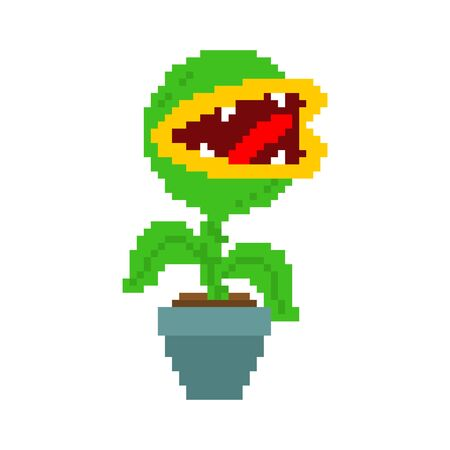 Flytrap pixel art. Flower predator Carnivorous plant in pot. Angry Flowers with Teeth 8 bit