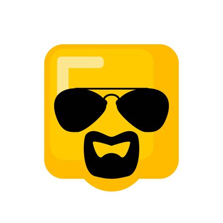 Cool Emoji With sunglasses and goatee beard. vector illustration  Stock Illustratie