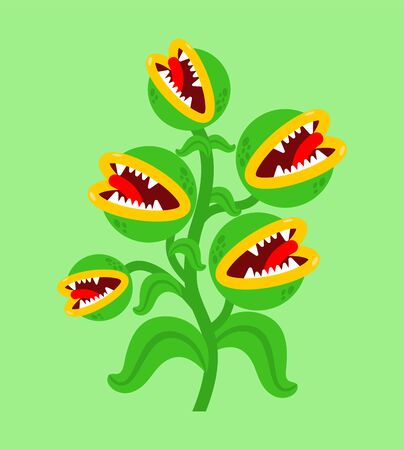 Flytrap monster plant. Flower predator Carnivorous plant. Angry Flowers with Teeth