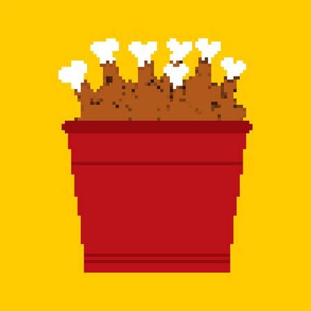 Bucket of fried chicken legs pixel art. 8 bit vector illustration