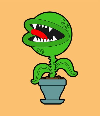 Flytrap in pot. Flower predator Carnivorous plant. Angry Flowers with Teeth 矢量图像