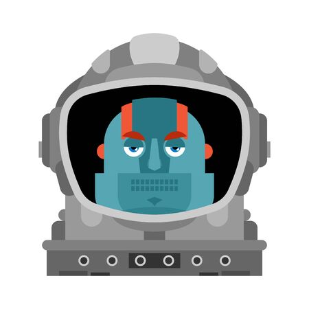 Robot astronaut isolated. Cyborg spaceman. vector illustration