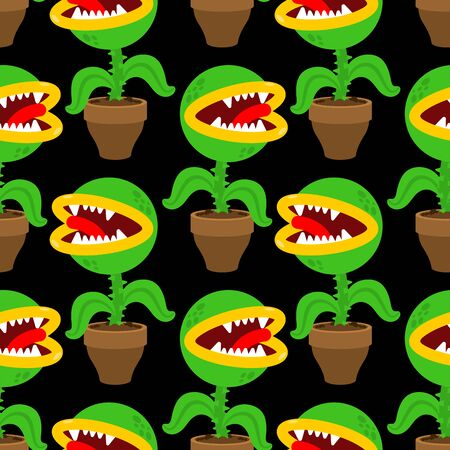 Flytrap in pot pattern seamless. Flower predator Carnivorous plant background . Angry Flowers with Teeth ornament
