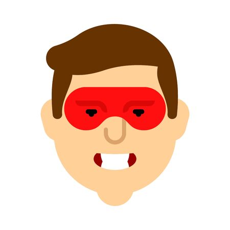 Superhero face isolated. Super guy in mask