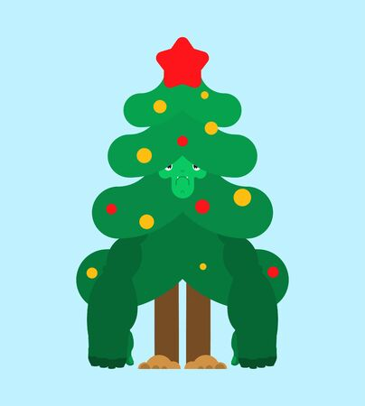 Christmas tree strong. Xmas and New Year. fir stupid strongman