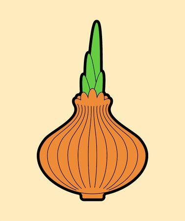 Onion isolated. cartoon Vegetable. Food vector illustration