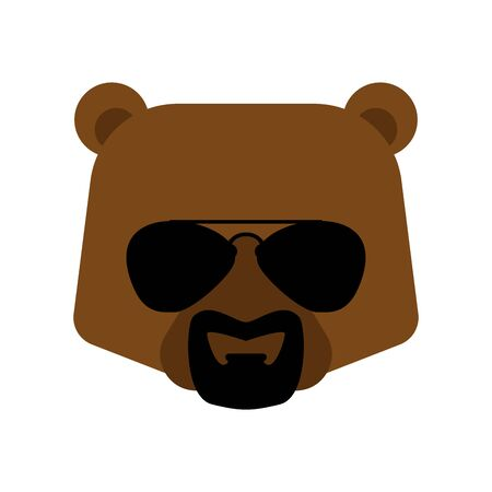 Cool bear with glasses and goatee beard. Grizzly Face vector illustration