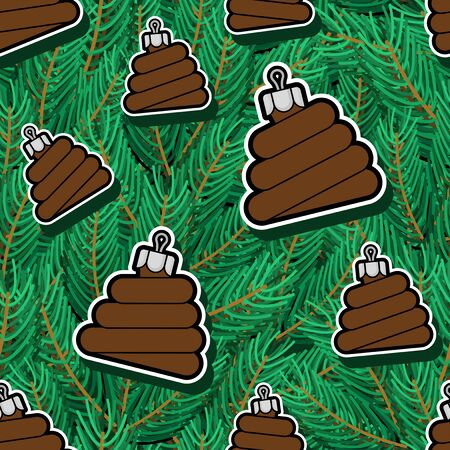 Shit Christmas tree toy on spruce pattern seamless. Xmas background. Poop vector texture