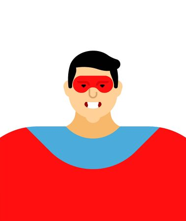 Superhero portrait isolated. Super guy in mask