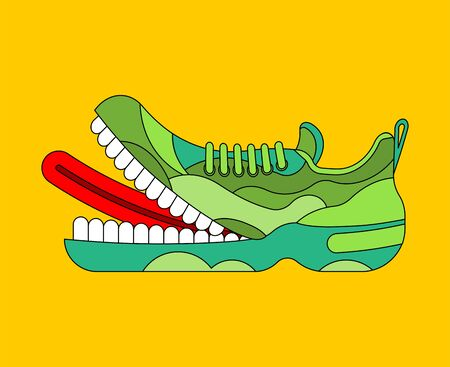 Toothy Sneaker monster. Sneakers with teeth.  Angry hungry Sports shoes vector illustration Иллюстрация