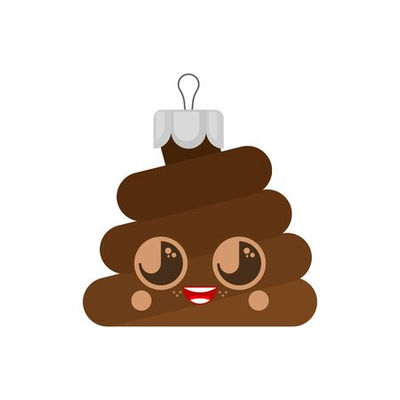 Shit Christmas tree toy. Poop vector illustration