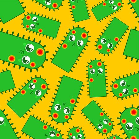 Cactus Cute   pattern seamless. funny peyote cartoon style background . kids character. Childrens style texture Banco de Imagens - 131967488
