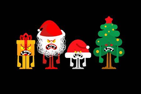 Angry Christmas. Crazy Christmas tree and gift box. Mad Santa and red bag. Xmas and New Year vector illustration