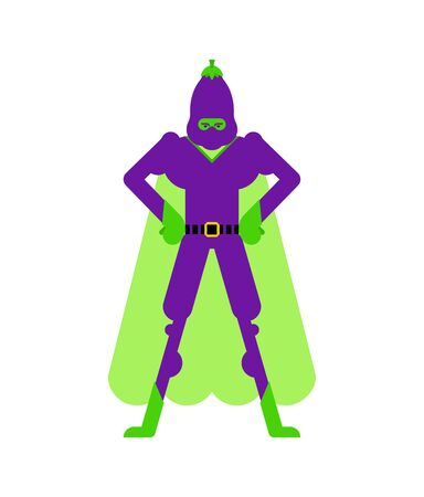 Eggplant superhero. Super Vegetable in mask and raincoat. Strong Eggplants Ilustrace
