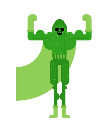 Cucumber superhero. Super Vegetable in mask and raincoat. Strong cucumbers