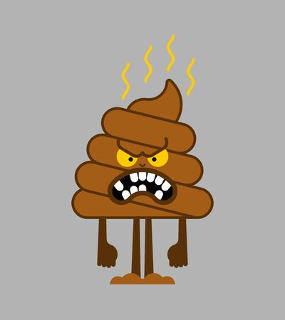 Angry shit cartoon. Bad poop. Vector illustration
