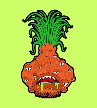Onion monster GMO mutant. Angry Vegetable with teeth. Hungry Alien Food vector illustration