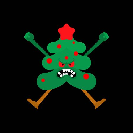 Angry Christmas tree. Crazy Xmas and New Year vector illustration