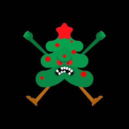Arbre de Noël en colère. Illustration vectorielle folle de Noël et du nouvel an