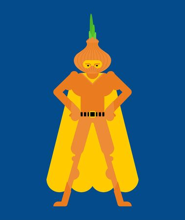 Onion superhero. Super Vegetable in mask and raincoat. Strong onions