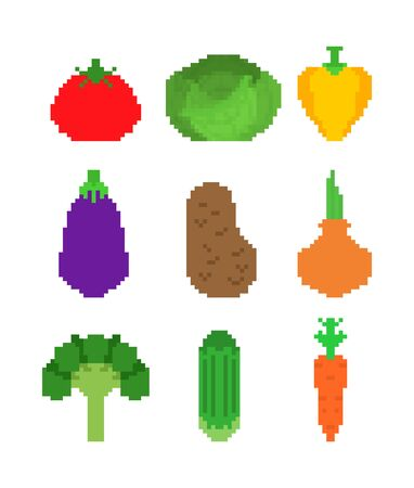 Vegetables pixel art set. 8 bit Vegetable. Pixelate Tomato and cabbage. Bell pepper and eggplant. Potatoes, onions and broccoli. Cucumber and carrots. vector illustration