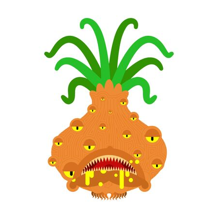 Onion monster GMO mutant. Genetically modified Angry Vegetable with teeth. Hungry Alien Food vector illustration