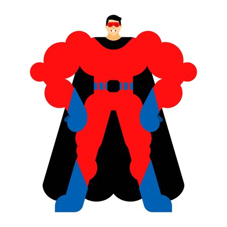 Superhero cartoon isolated. Super guy in mask and raincoat. Strong man Çizim