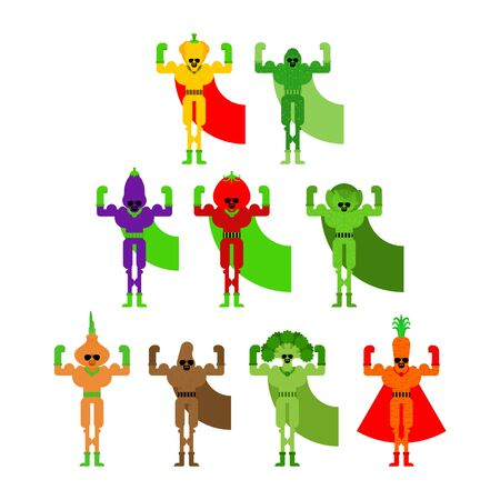 Vegetable superhero set. Super Team Vegetables in mask and raincoat. Strong Tomato and cabbage. Bell pepper and eggplant. Potatoes, onions and broccoli. Cucumber and carrots.