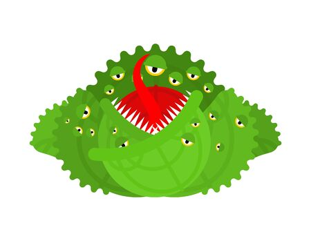 Ð¡abbage monster. Angry Vegetable with teeth. Hungry Alien Food illustration