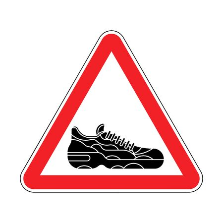 Attention Sneaker. Caution Sneakers. Red triangle road sign