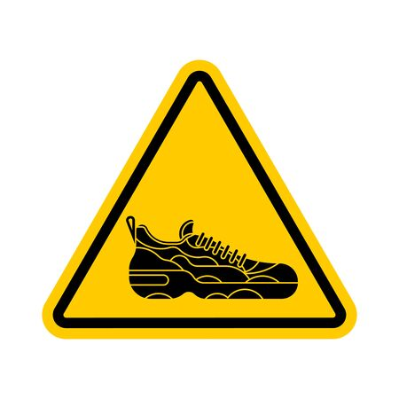 Attention Sneaker. Caution Sneakers. Yellow triangle road sign
