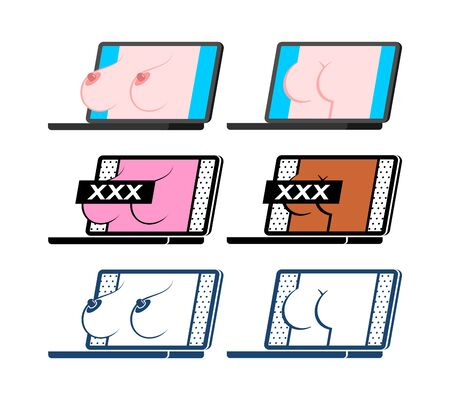 Boobs and ass Erotica on laptop screen. Porn video on pc. XXX Content for adults. Ilustração