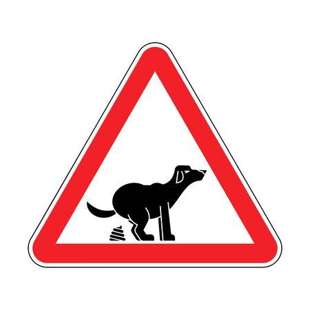 Atención caca de perro. Precaución Mierda de mascotas. Señal de tráfico triángulo rojo Ilustración de vector