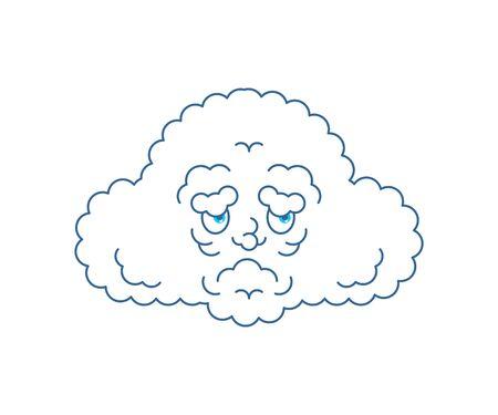 Cloud sad. Cloud man sorrowful emotions. Vector illustration
