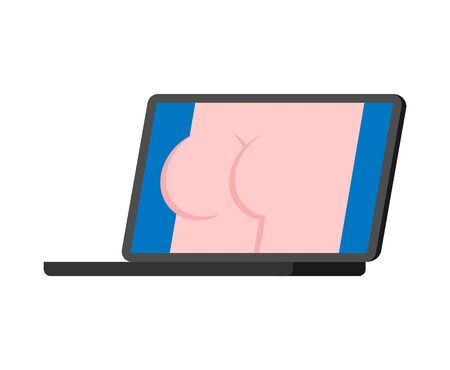 Porn video on pc. XXX Content for adults. Ass Erotica on laptop screen.