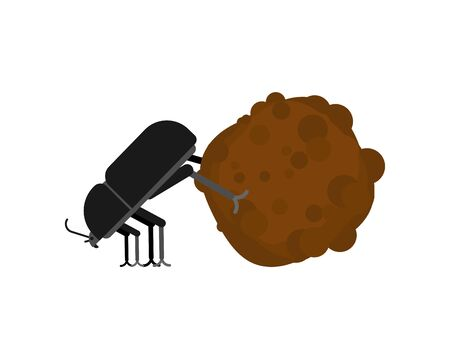 Dung beetle and dung ball isolated. vector illustration