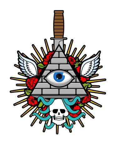 Pyramid with an eye. All-seeing eye. Symbol of world government. Illuminati conspiracy theory. sacred sign Illustration