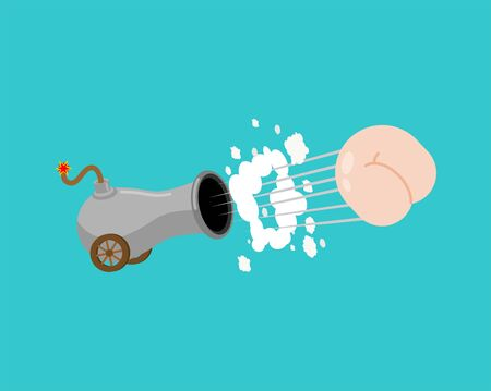 Cannon and Ass bomb isolated. fanny Explosives of mass destruction. vector illustration