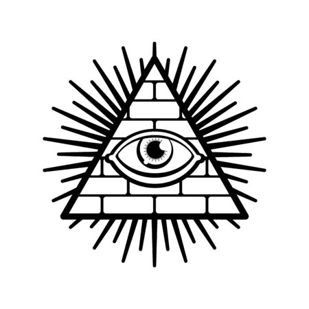 All-seeing eye. Symbol of world government. Illuminati conspiracy theory. sacred sign. Pyramid with an eye. Ilustración de vector