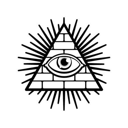 Oeil qui voit tout. Symbole du gouvernement mondial. Théorie du complot Illuminati. signe sacré. Pyramide avec un oeil. Vecteurs
