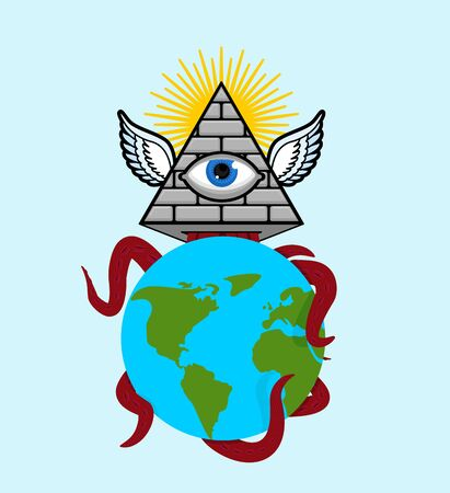 Symbol of world government. Pyramid with an eye. All-seeing eye.  Illuminati conspiracy theory. sacred sign Illustration
