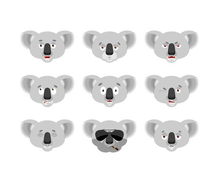 Koala set emoji avatar. sad and angry face. guilty and sleeping. koala bear sleeping emotion face. Beast Vector illustration Stock Illustratie