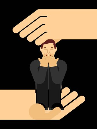 Hand helps Lonely man in depression. Unhappy guy sitting and hugging her knees. Depressed male. Concept of support Loneliness and stress Illustration